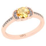 0.68 Ctw I2/I3 Citrine And Diamond 10K Rose Gold Promises Ring