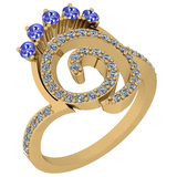 0.96 Ctw VS/SI1 Tanzanite And Diamond 14K Yellow Gold Ring