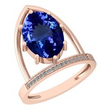 4.69 Ctw VS/SI1 Tanzanite And Diamond 14K Rose Gold Ring