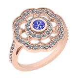 1.09 Ctw VS/SI1 Tanzanite And Diamond 14K Rose Gold Engagement Halo Ring