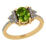 1.71 Ctw I2/I3 Peridot And Diamond 10K Yellow Gold Promises Ring