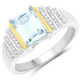 1.40 CTW Genuine Aquamarine and White Diamond 14K Yellow Gold with .925 Sterling Silver Ring