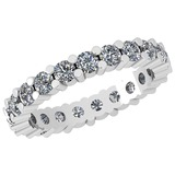0.91 Ctw Diamond I2/I3 14K White Gold Eternity Band Ring