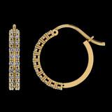0.61 Ctw SI2/I1 Diamond 14K Yellow Gold Hoop Earrings