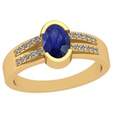 0.62 Ctw Blue Sapphire And Diamond I2/I3 14K Yellow Gold Vintage Style Ring