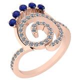 0.96 Ctw VS/SI1 Blue Sapphire And Diamond 14K Rose Gold Ring