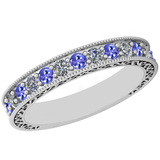 0.83 Ctw VS/SI1 Tanzanite And Diamond 14K White Gold Filigree Style Band Ring