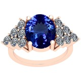 5.72 Ctw VS/SI1 Tanzanite And Diamond Platinum 14K Rose Gold Plated Vintage Style Ring