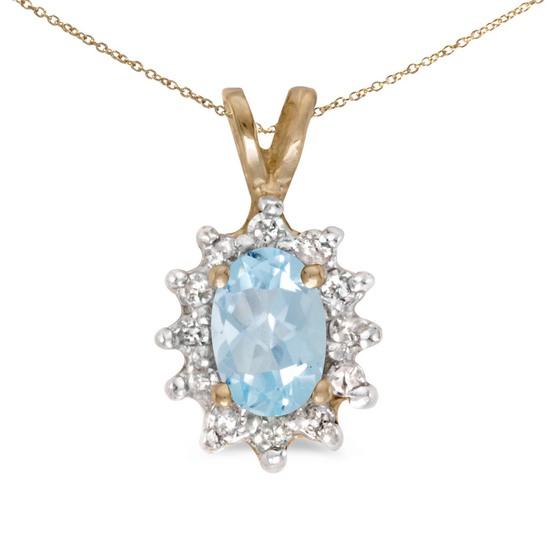 Certified 14k Yellow Gold Oval Aquamarine And Diamond Pendant