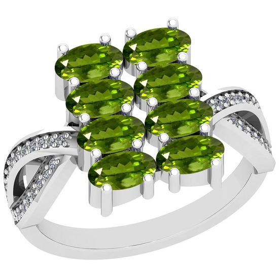 2.21 Ctw Peridot And Diamond I2/I3 14K White Gold Ring