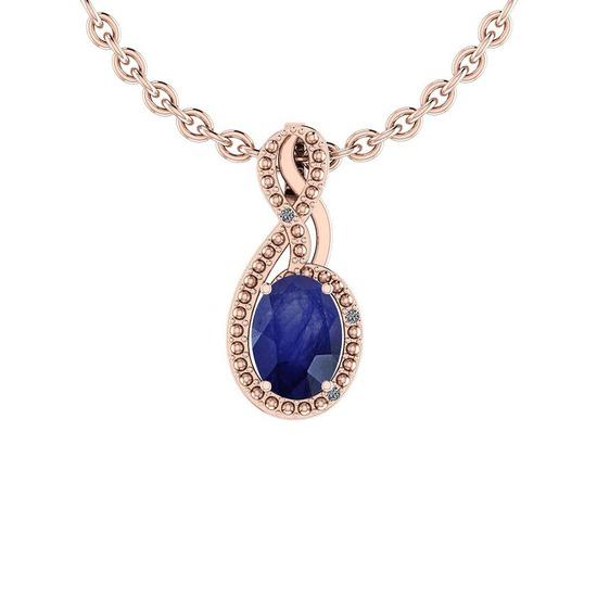 1.27 Ctw VS/SI1 Blue Sapphire And Diamond 14K Rose Gold Pendant