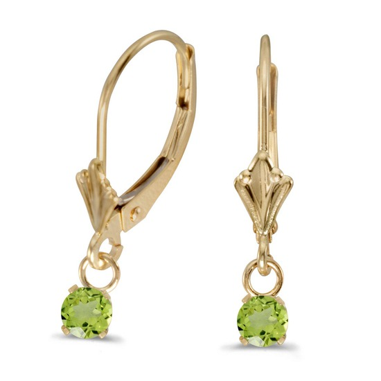 14k Yellow Gold Round Peridot Lever-back Earrings 0.49 CTW