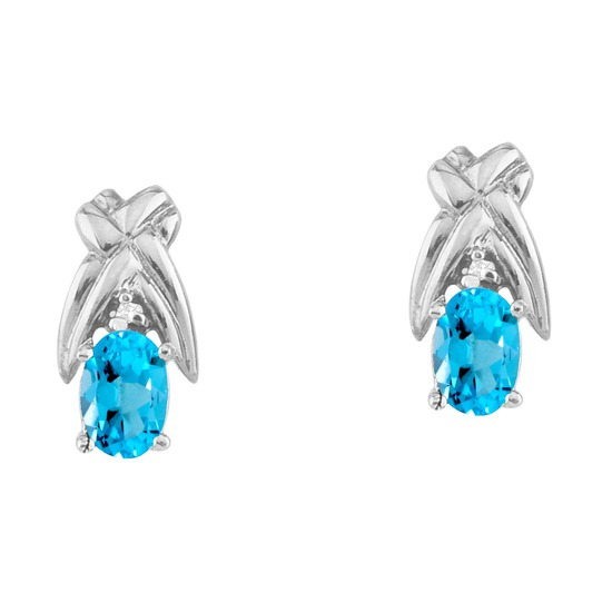 14k White Gold 6x4 mm Blue Topaz and Diamond Oval Shaped Earrings 0.96 CTW