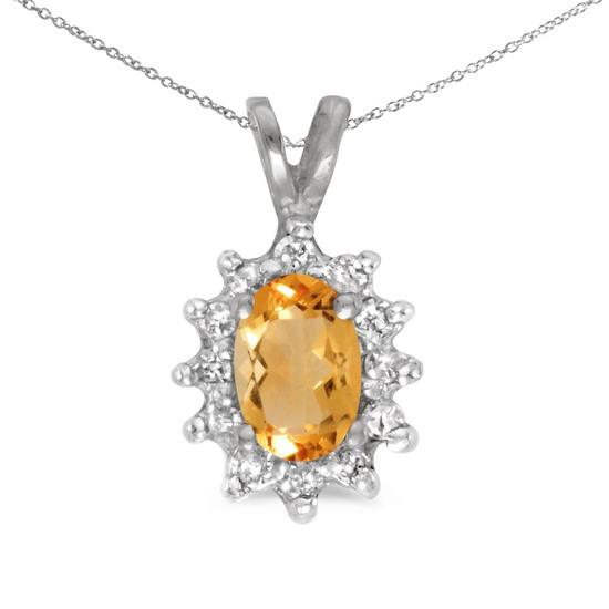 14k White Gold Oval Citrine And Diamond Pendant 0.43 CTW