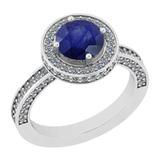 2.13 Ctw I2/I3 Blue Sapphire And Diamond 14K White Gold Ring