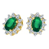 14k Yellow Gold Oval Emerald and .25 total ct Diamond Earrings