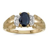 10k Yellow Gold Oval Sapphire And Diamond Ring 0.81 CTW
