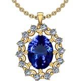 6.13 Ctw VS/SI1 Tanzanite And Diamond 14k Yellow Gold Victorian Style Necklace