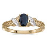 10k Yellow Gold Oval Sapphire And Diamond Ring 0.4 CTW