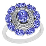 3.13 Ctw VS/SI1 Tanzanite And Diamond 14K White Gold Vintage Style Ring