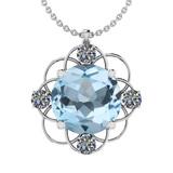 49.66 Ctw I2/I3 Blue Topaz And Diamond 14K White Gold Necklace