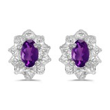 10k White Gold Oval Amethyst And Diamond Earrings 0.37 CTW