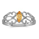 14k White Gold Marquise Citrine Filagree Ring 0.18 CTW