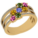 1.25 Ctw SI2/I1 Multi Sapphire,Tanzanite And Diamond 14K Yellow Gold Engagement Band Ring