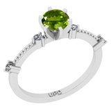 0.64 Ctw I2/I3 Peridot And Diamond 10K White Gold Promises Ring