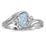 10k White Gold Oval Aquamarine And Diamond Ring
