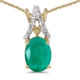 14k Yellow Gold Oval Emerald And Diamond Pendant