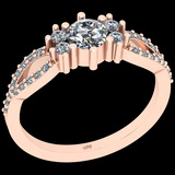 0.79 Ctw I2/I3 Diamond 10K Rose Gold Vintage Style Ring