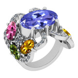 7.67 Ctw SI2/I1 Multi Sapphire,Tanzanite And Diamond 14K White Gold Cocktail Style Engagement Ring
