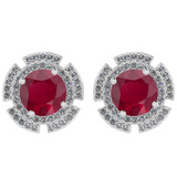 4.44 Ctw I2/I3 Ruby And Diamond 14K White Gold Stud Earrings
