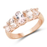 14K Rose Gold Plated 1.25 CTW Genuine Morganite .925 Sterling Silver Ring