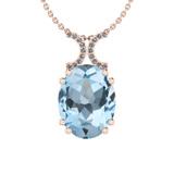 27.85 Ctw I2/I3 Blue Topaz And Diamond 14K Rose Gold Necklace