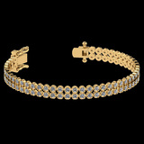 1.50 Ctw SI2/I1 Diamond 14K Yellow Gold 2 Row Bracelet