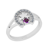 0.22 Ctw I2/I3 Amethyst And Diamond 10K White Gold Vintage Style Ring