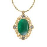 16.97 Ctw VS/SI1 Emerald And Diamond 14K Yellow Gold Pendant