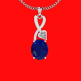 5.27 Ctw VS/SI1 Blue Sapphire And Diamond 14K White Gold Necklace