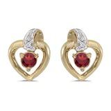 10k Yellow Gold Round Garnet And Diamond Heart Earrings 0.25 CTW