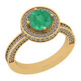 2.13 Ctw I2/I3 Emerald And Diamond 14K Yellow Gold Ring