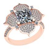 2.82 Ctw SI2/I1 Diamond Platinum 14K Rose Gold Plated Ring