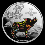 2019 Niue 1 oz Silver Colorized Lunar Year of the Pig