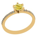 1.04 Ct GIA Certified Natural Fancy Yellow Diamond And White Diamond 18K Yellow Gold Engagement Ring