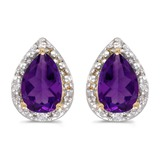 10k Yellow Gold Pear Amethyst And Diamond Earrings 0.88 CTW