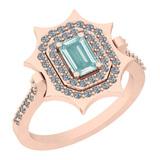 0.97 Ctw I2/I3 Aquamrine And Diamond 14K Rose Gold Vingate Style Halo Ring
