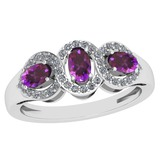 1.00 Ctw Amethyst And Diamond I2/I3 14K White Gold three Stone Ring