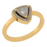 0.86 Ct Natural Salt Pepper Diamond I2/I3And White Diamond I2/I3 10K Yellow Gold Vintage Style Ring