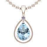 Certified 74.32 Ctw I2/I3 Blue Topaz And Diamond 14K Rose Gold Pendant